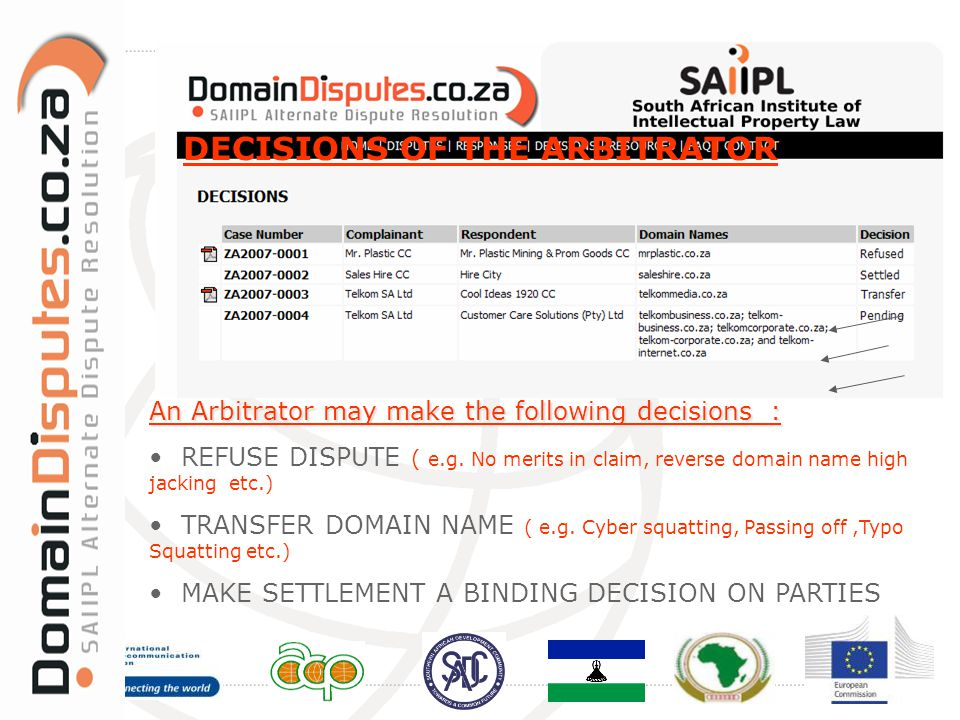 DECISIONS OF THE ARBITRATOR An Arbitrator may make the following decisions : REFUSE DISPUTE ( e.g. No merits in claim, reverse domain name high jackin
