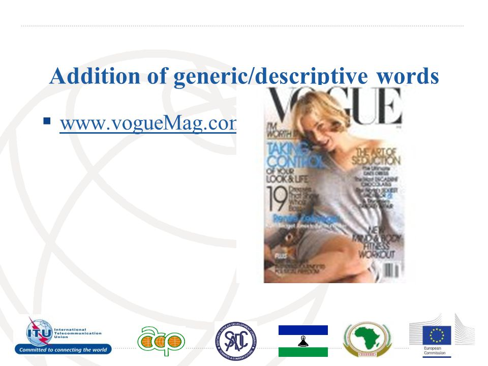 Addition of generic/descriptive words  www.vogueMag.com www.vogueMag.com