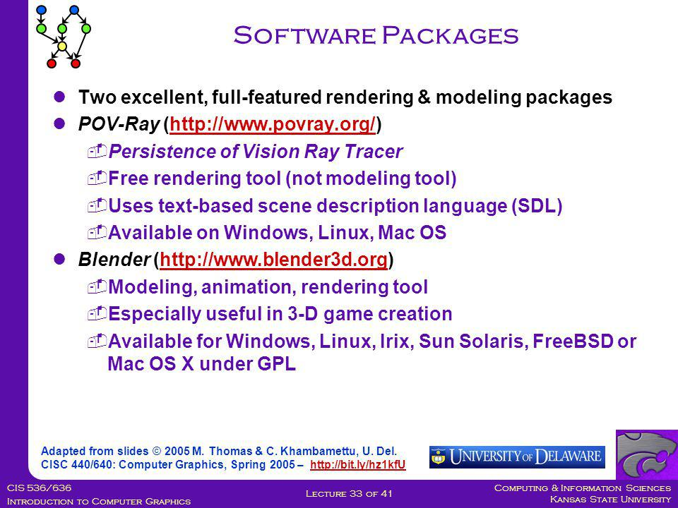 Computing & Information Sciences Kansas State University CIS 536/636 Introduction to Computer Graphics Lecture 33 of 41 Software Packages Adapted from slides © 2005 M.