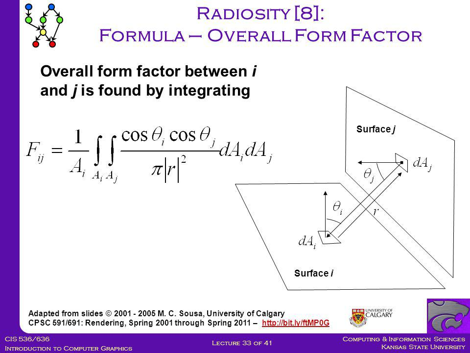 Computing & Information Sciences Kansas State University CIS 536/636 Introduction to Computer Graphics Lecture 33 of 41 Radiosity [8]: Formula – Overall Form Factor Adapted from slides © 2001 - 2005 M.