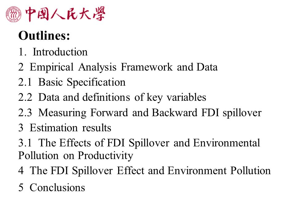 1.Introduction Some empirical studies confirm positive productivity spillovers from FDI.
