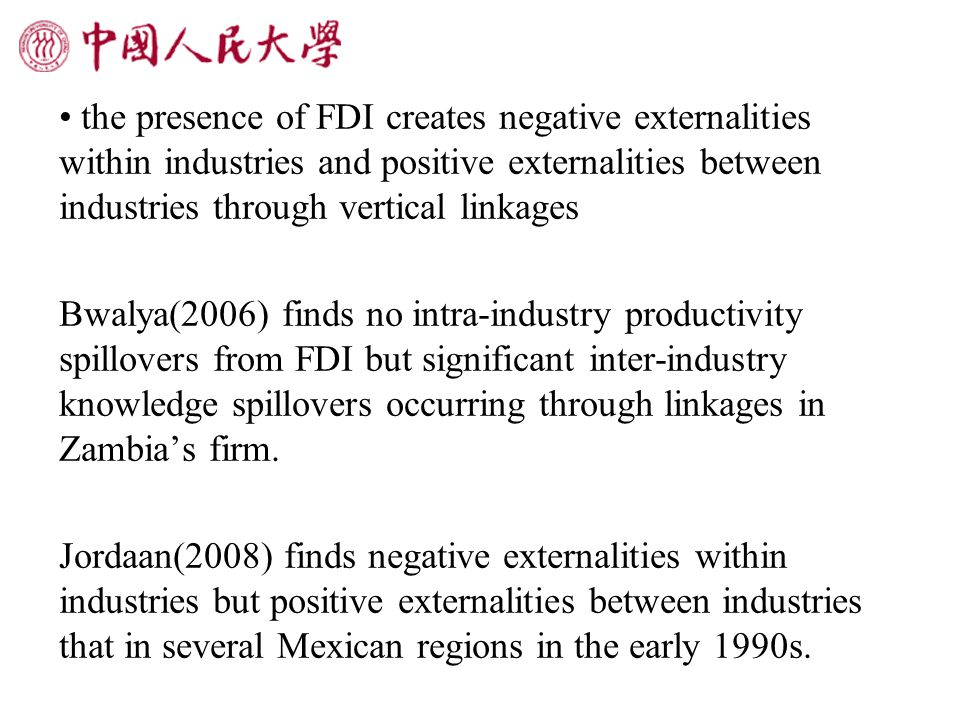3 Estimation results 3.1 The Effects of FDI Spillover and Environmental Pollution on Productivity
