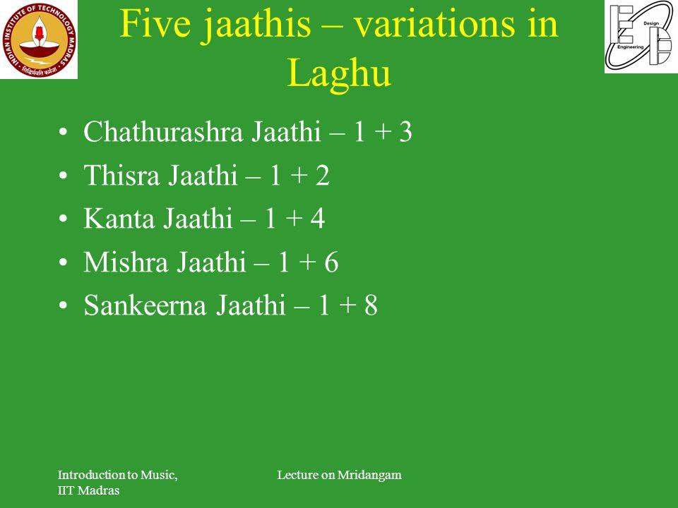 Five jaathis – variations in Laghu Chathurashra Jaathi – 1 + 3 Thisra Jaathi – 1 + 2 Kanta Jaathi – 1 + 4 Mishra Jaathi – 1 + 6 Sankeerna Jaathi – 1 +