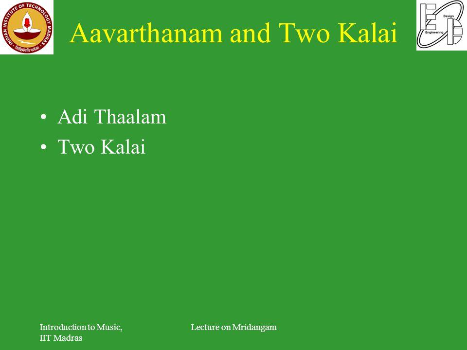 Aavarthanam and Two Kalai Adi Thaalam Two Kalai Introduction to Music, IIT Madras Lecture on Mridangam