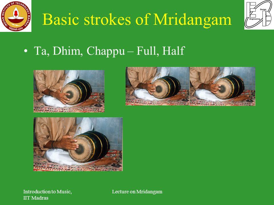 Basic strokes of Mridangam Ta, Dhim, Chappu – Full, Half Introduction to Music, IIT Madras Lecture on Mridangam