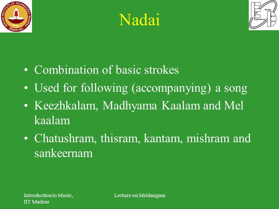 Nadai Combination of basic strokes Used for following (accompanying) a song Keezhkalam, Madhyama Kaalam and Mel kaalam Chatushram, thisram, kantam, mi