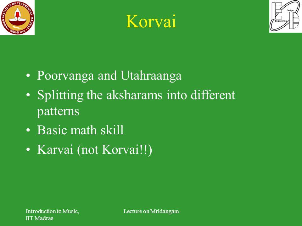 Korvai Poorvanga and Utahraanga Splitting the aksharams into different patterns Basic math skill Karvai (not Korvai!!) Introduction to Music, IIT Madr