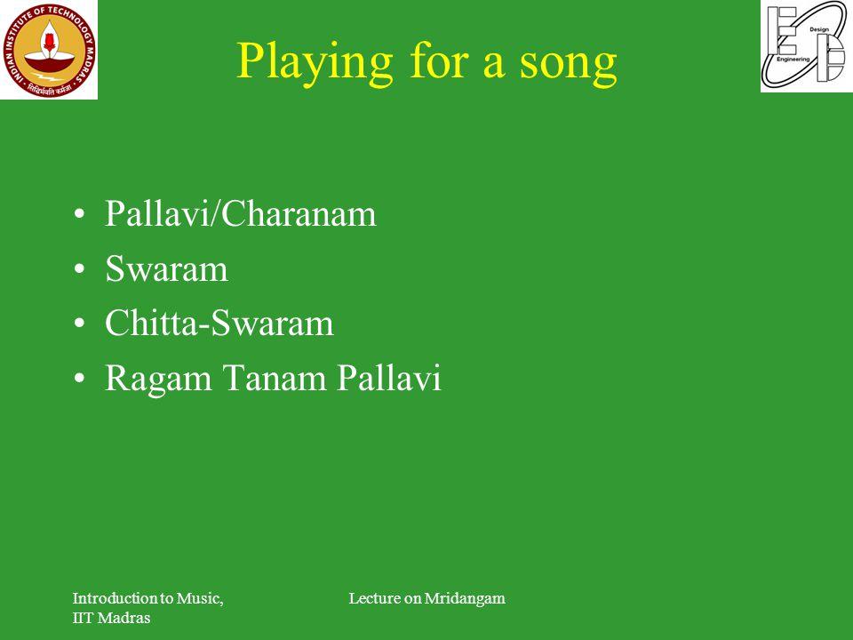 Playing for a song Pallavi/Charanam Swaram Chitta-Swaram Ragam Tanam Pallavi Introduction to Music, IIT Madras Lecture on Mridangam