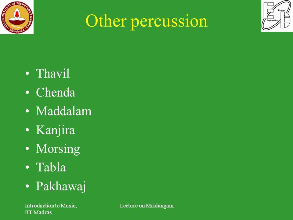 Other percussion Thavil Chenda Maddalam Kanjira Morsing Tabla Pakhawaj Introduction to Music, IIT Madras Lecture on Mridangam