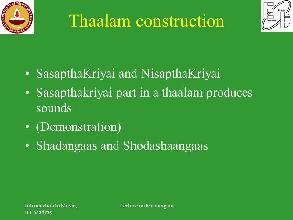 Thaalam construction SasapthaKriyai and NisapthaKriyai Sasapthakriyai part in a thaalam produces sounds (Demonstration) Shadangaas and Shodashaangaas