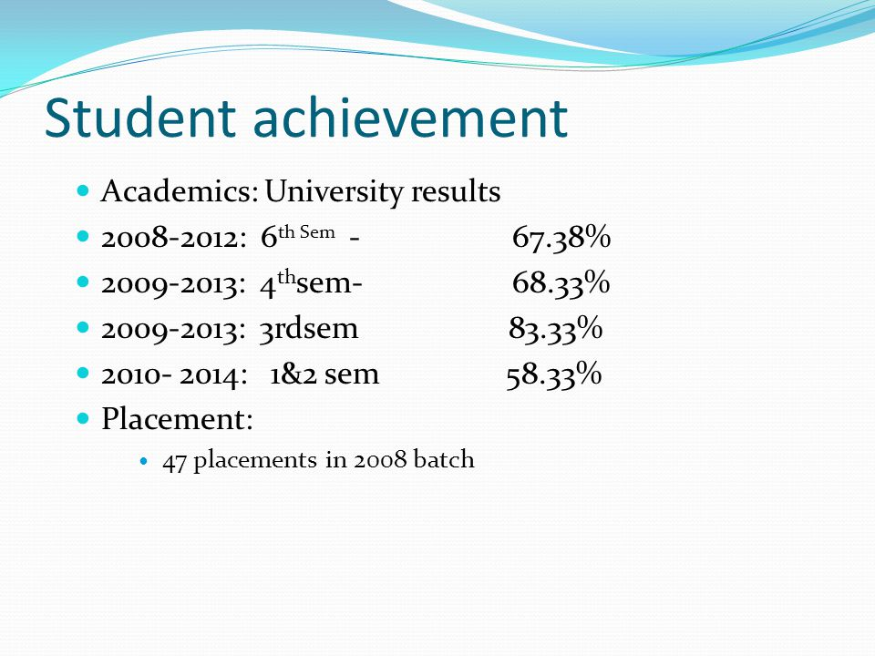 Student achievement Academics: University results 2008-2012: 6 th Sem - 67.38% 2009-2013: 4 th sem- 68.33% 2009-2013: 3rdsem 83.33% 2010- 2014: 1&2 se