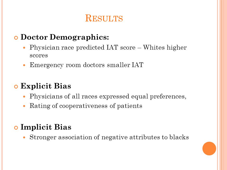 R ESULTS Doctor Demographics: Physician race predicted IAT score – Whites higher scores Emergency room doctors smaller IAT Explicit Bias Physicians of all races expressed equal preferences, Rating of cooperativeness of patients Implicit Bias Stronger association of negative attributes to blacks