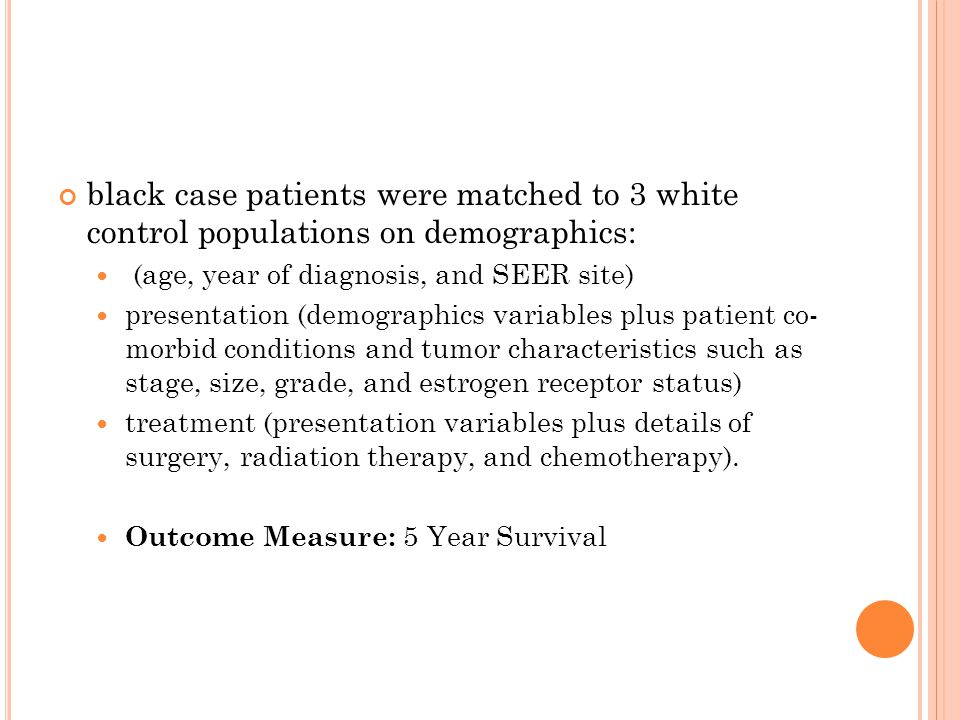 black case patients were matched to 3 white control populations on demographics: (age, year of diagnosis, and SEER site) presentation (demographics variables plus patient co- morbid conditions and tumor characteristics such as stage, size, grade, and estrogen receptor status) treatment (presentation variables plus details of surgery, radiation therapy, and chemotherapy).