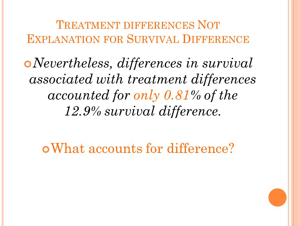 T REATMENT DIFFERENCES N OT E XPLANATION FOR S URVIVAL D IFFERENCE Nevertheless, differences in survival associated with treatment differences accounted for only 0.81% of the 12.9% survival difference.
