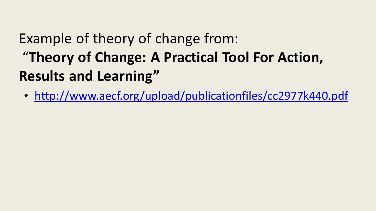 Example of theory of change from: Theory of Change: A Practical Tool For Action, Results and Learning http://www.aecf.org/upload/publicationfiles/cc2977k440.pdf