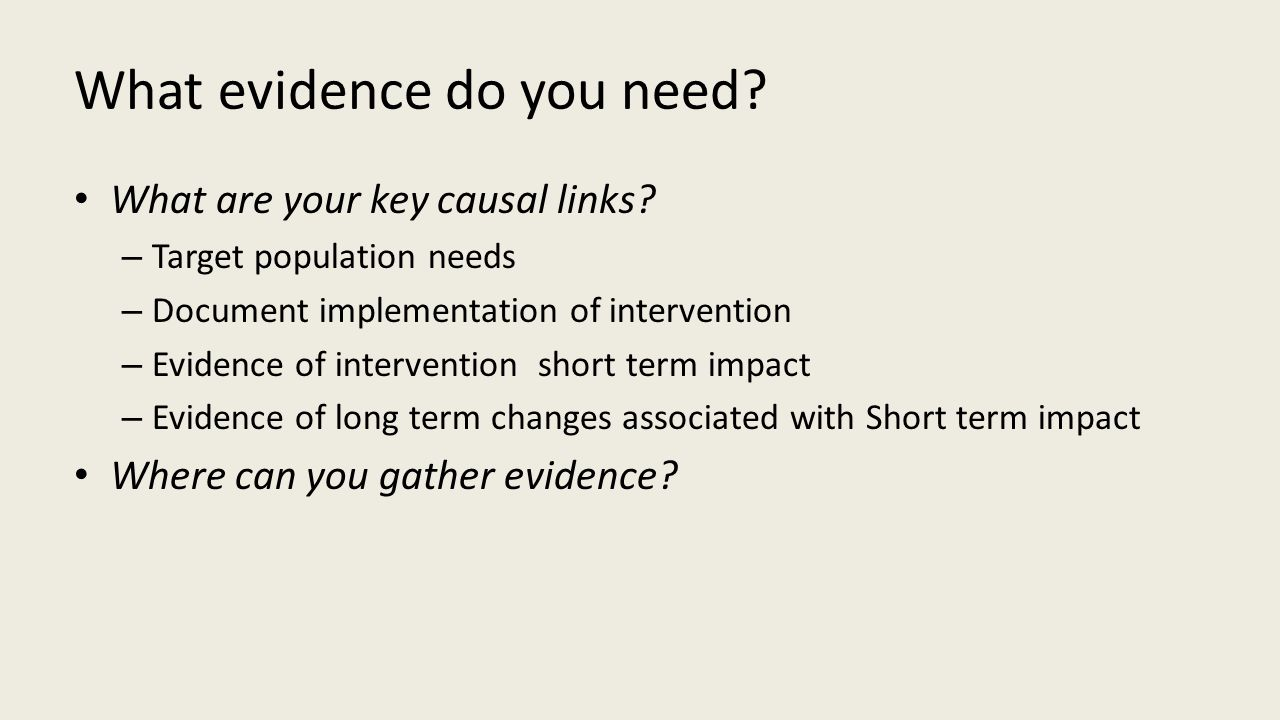 What evidence do you need.What are your key causal links.