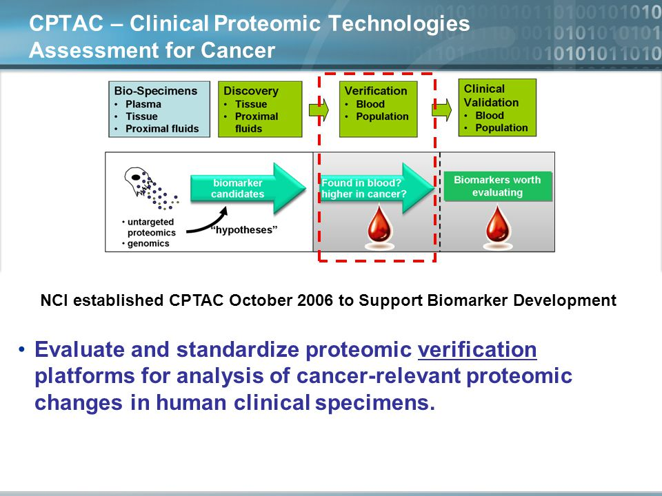 CPTAC – Clinical Proteomic Technologies Assessment for Cancer NCI established CPTAC October 2006 to Support Biomarker Development Evaluate and standardize proteomic verification platforms for analysis of cancer-relevant proteomic changes in human clinical specimens.