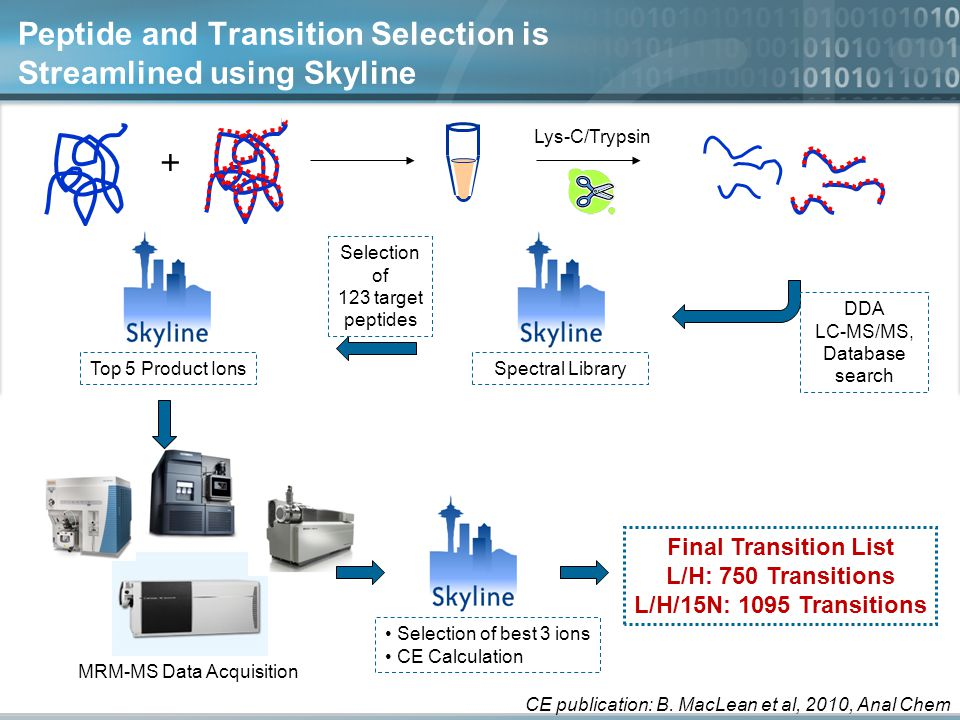 Peptide and Transition Selection is Streamlined using Skyline Lys-C/Trypsin + Selection of 123 target peptides Top 5 Product Ions MRM-MS Data Acquisition Selection of best 3 ions CE Calculation Final Transition List L/H: 750 Transitions L/H/15N: 1095 Transitions CE publication: B.