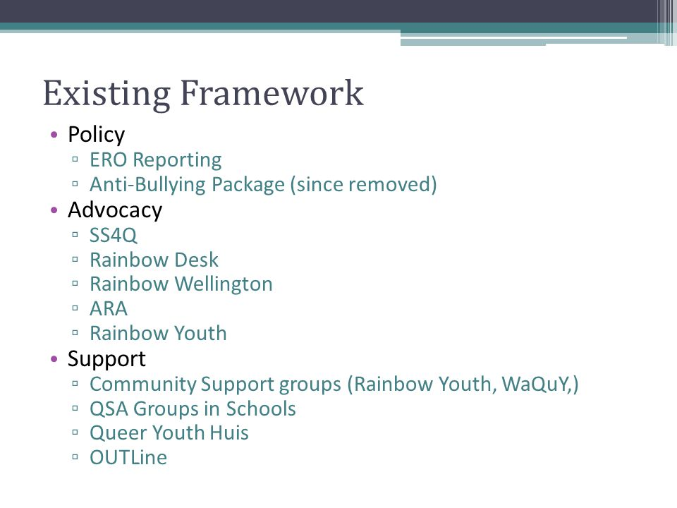 Existing Framework Policy ▫ ERO Reporting ▫ Anti-Bullying Package (since removed) Advocacy ▫ SS4Q ▫ Rainbow Desk ▫ Rainbow Wellington ▫ ARA ▫ Rainbow Youth Support ▫ Community Support groups (Rainbow Youth, WaQuY,) ▫ QSA Groups in Schools ▫ Queer Youth Huis ▫ OUTLine