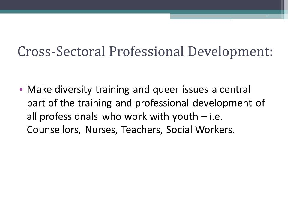 Cross-Sectoral Professional Development: Make diversity training and queer issues a central part of the training and professional development of all professionals who work with youth – i.e.