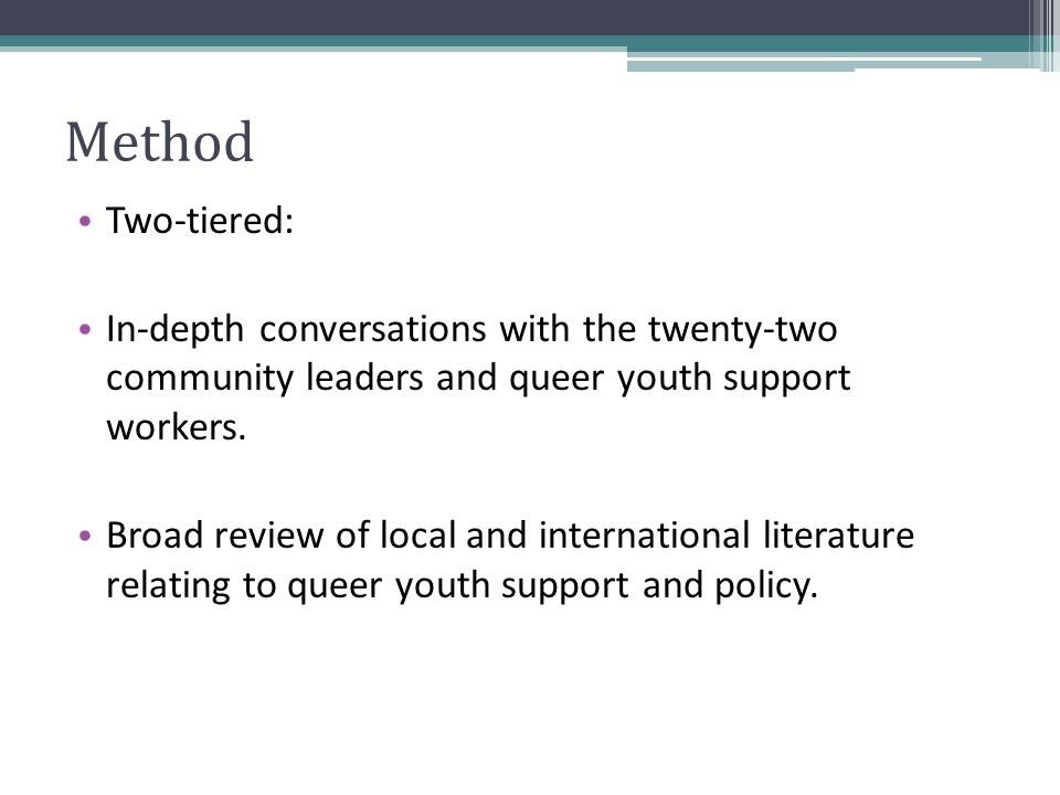 Method Two-tiered: In-depth conversations with the twenty-two community leaders and queer youth support workers.