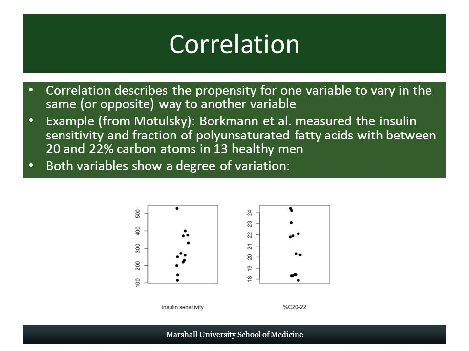 Correlation Correlation describes the propensity for one variable to vary in the same (or opposite) way to another variable Example (from Motulsky): Borkmann et al.
