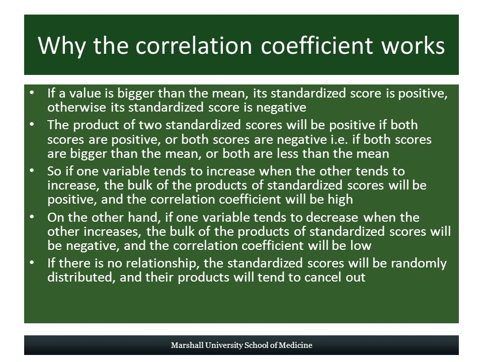 Why the correlation coefficient works If a value is bigger than the mean, its standardized score is positive, otherwise its standardized score is negative The product of two standardized scores will be positive if both scores are positive, or both scores are negative i.e.
