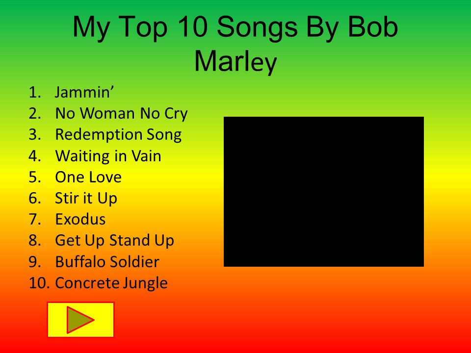 My Top 10 Songs By Bob Marl ey 1.Jammin' 2.No Woman No Cry 3.Redemption Song 4.Waiting in Vain 5.One Love 6.Stir it Up 7.Exodus 8.Get Up Stand Up 9.Buffalo Soldier 10.Concrete Jungle