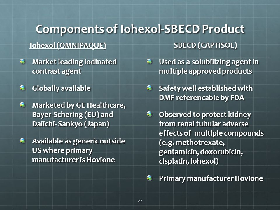 Components of Iohexol-SBECD Product Market leading iodinated contrast agent Globally available Marketed by GE Healthcare, Bayer-Schering (EU) and Daii
