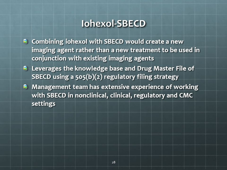Iohexol-SBECDIohexol-SBECD Combining iohexol with SBECD would create a new imaging agent rather than a new treatment to be used in conjunction with ex