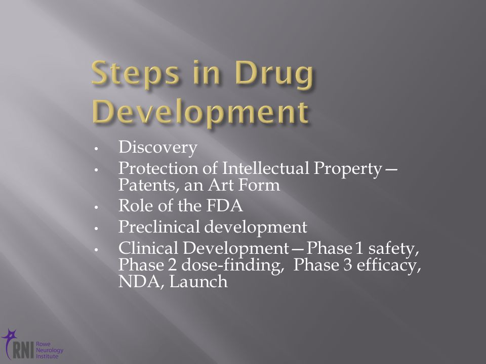 Discovery Protection of Intellectual Property— Patents, an Art Form Role of the FDA Preclinical development Clinical Development—Phase 1 safety, Phase 2 dose-finding, Phase 3 efficacy, NDA, Launch