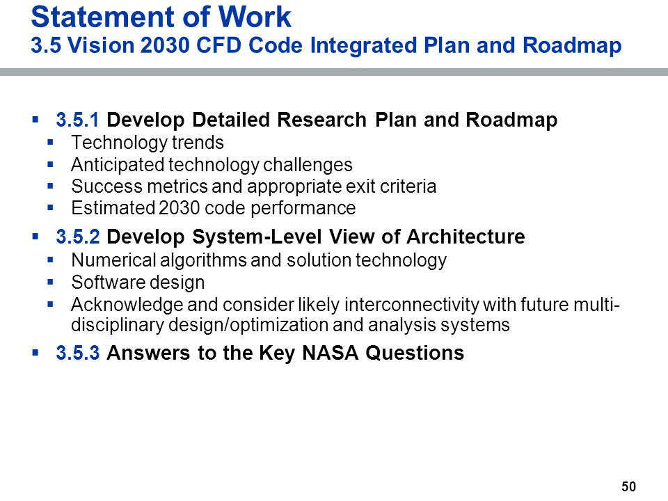 50 Statement of Work 3.5 Vision 2030 CFD Code Integrated Plan and Roadmap  3.5.1 Develop Detailed Research Plan and Roadmap  Technology trends  Ant