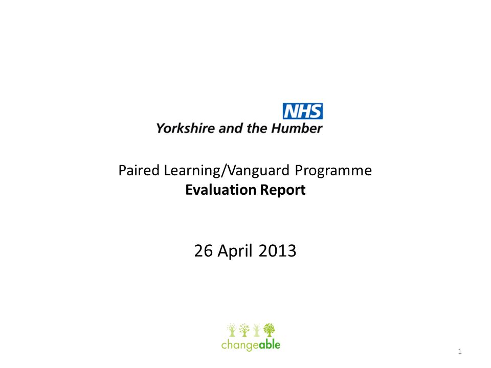 Paired Learning/Vanguard Programme Evaluation Report 26 April 2013 1