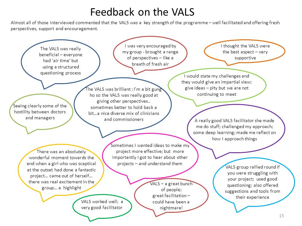 Feedback on the VALS 15 Almost all of those interviewed commented that the VALS was a key strength of the programme – well facilitated and offering fr