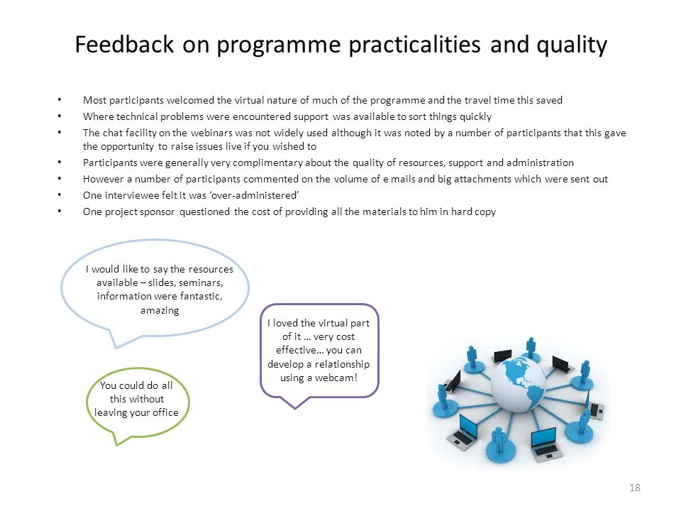 Feedback on programme practicalities and quality Most participants welcomed the virtual nature of much of the programme and the travel time this saved