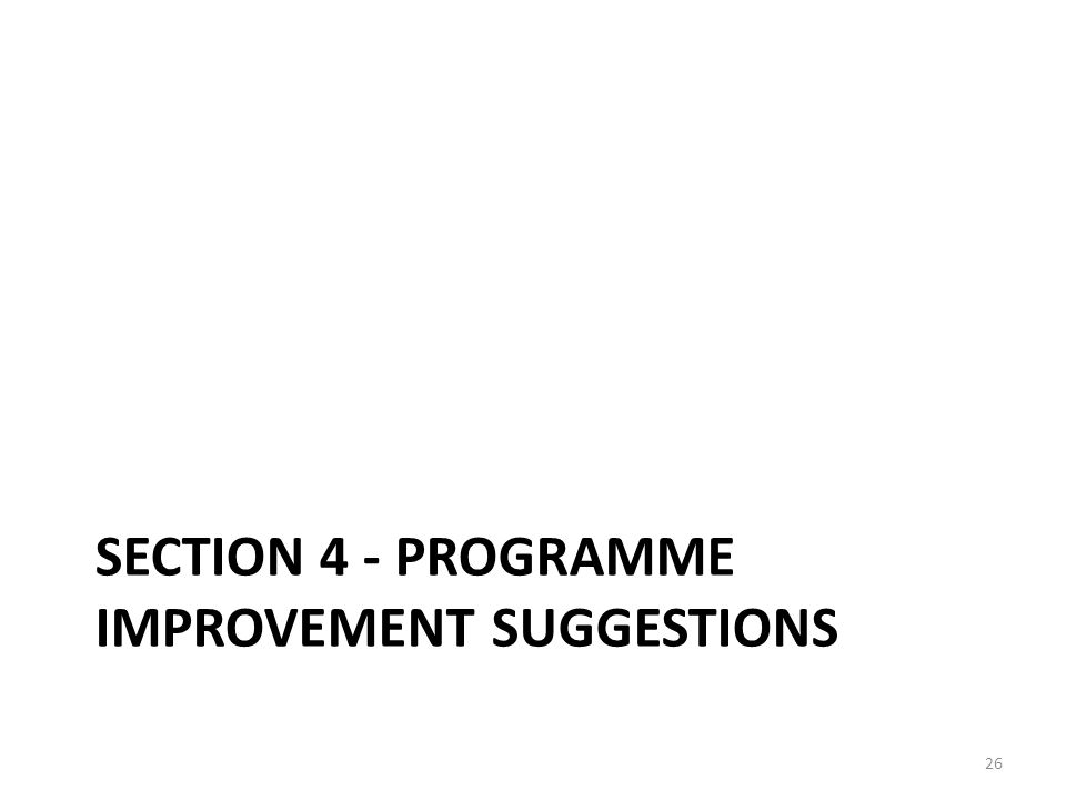 SECTION 4 - PROGRAMME IMPROVEMENT SUGGESTIONS 26