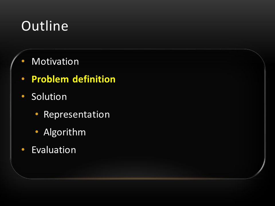 Motivation Problem definition Solution Representation Algorithm Evaluation Outline