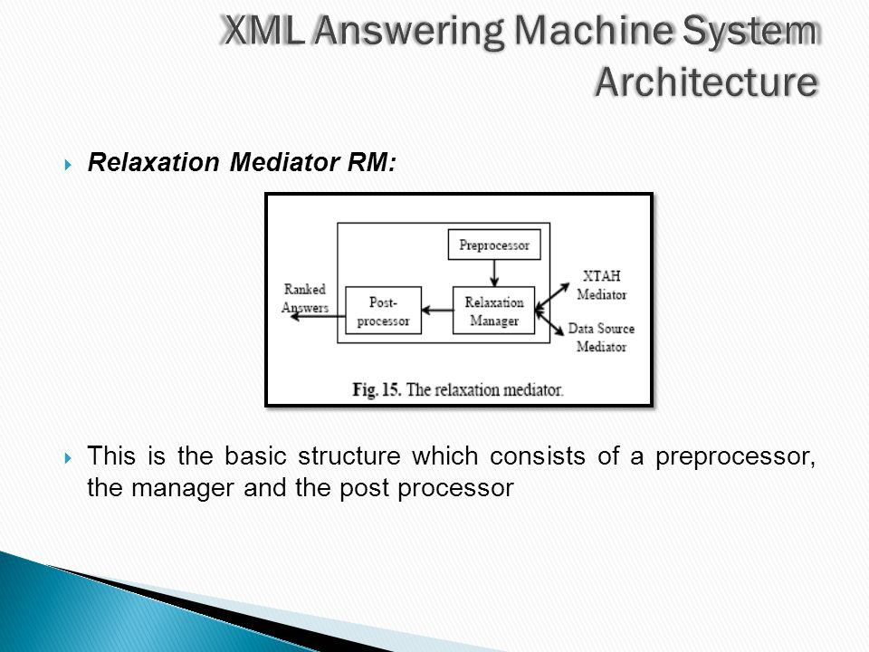  Relaxation Mediator RM:  This is the basic structure which consists of a preprocessor, the manager and the post processor