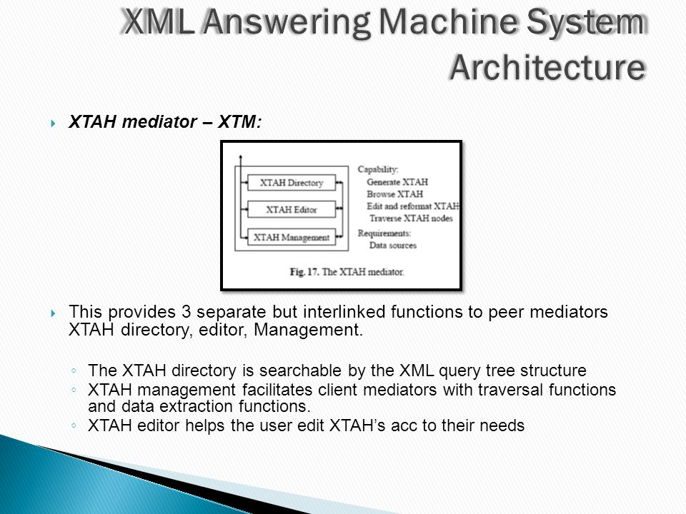  XTAH mediator – XTM:  This provides 3 separate but interlinked functions to peer mediators XTAH directory, editor, Management.