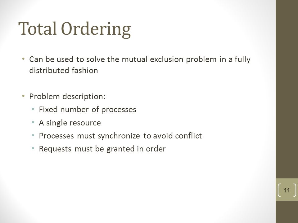 Total Ordering Can be used to solve the mutual exclusion problem in a fully distributed fashion Problem description: Fixed number of processes A singl