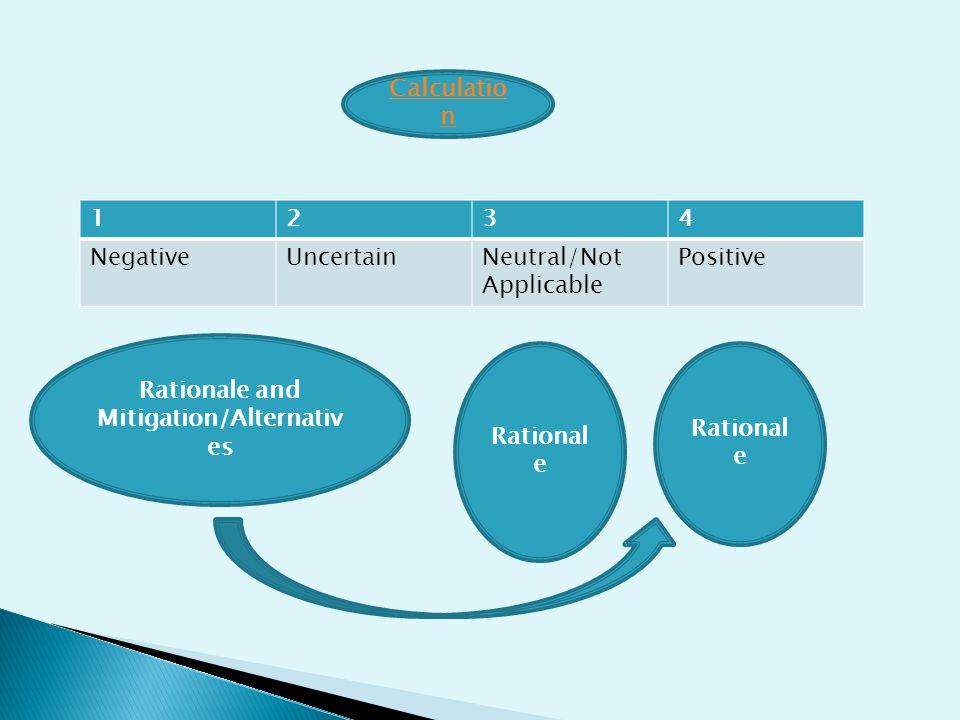 1234 NegativeUncertainNeutral/Not Applicable Positive Rationale and Mitigation/Alternativ es Rational e Calculatio n