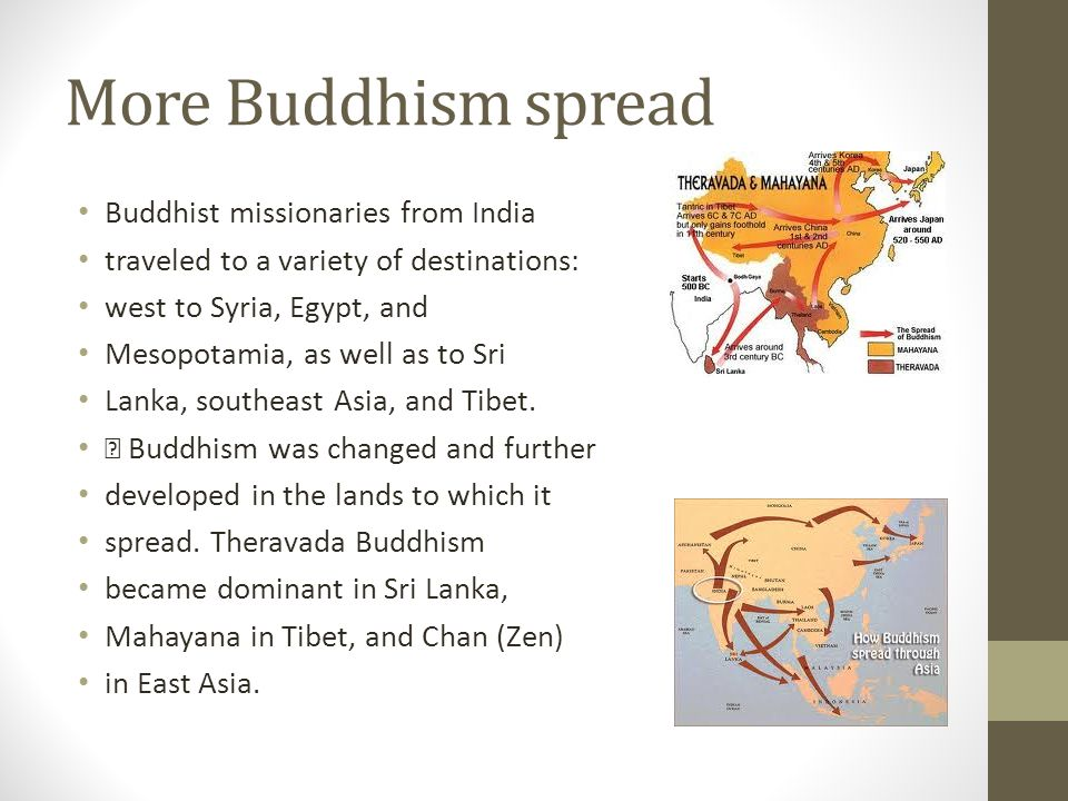 More Buddhism spread Buddhist missionaries from India traveled to a variety of destinations: west to Syria, Egypt, and Mesopotamia, as well as to Sri Lanka, southeast Asia, and Tibet.
