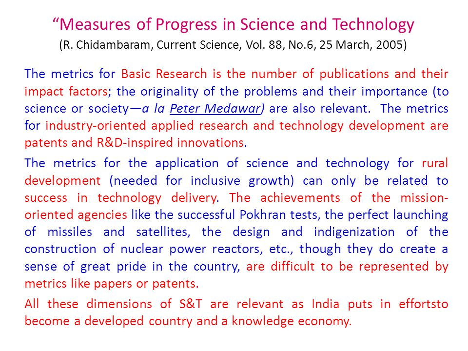 Measures of Progress in Science and Technology (R.