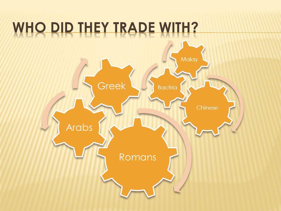 Romans Arabs Greek Chinese Bactria Malay