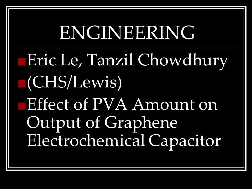 ENGINEERING Eric Le, Tanzil Chowdhury (CHS/Lewis) Effect of PVA Amount on Output of Graphene Electrochemical Capacitor