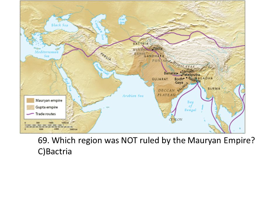 69. Which region was NOT ruled by the Mauryan Empire? C)Bactria