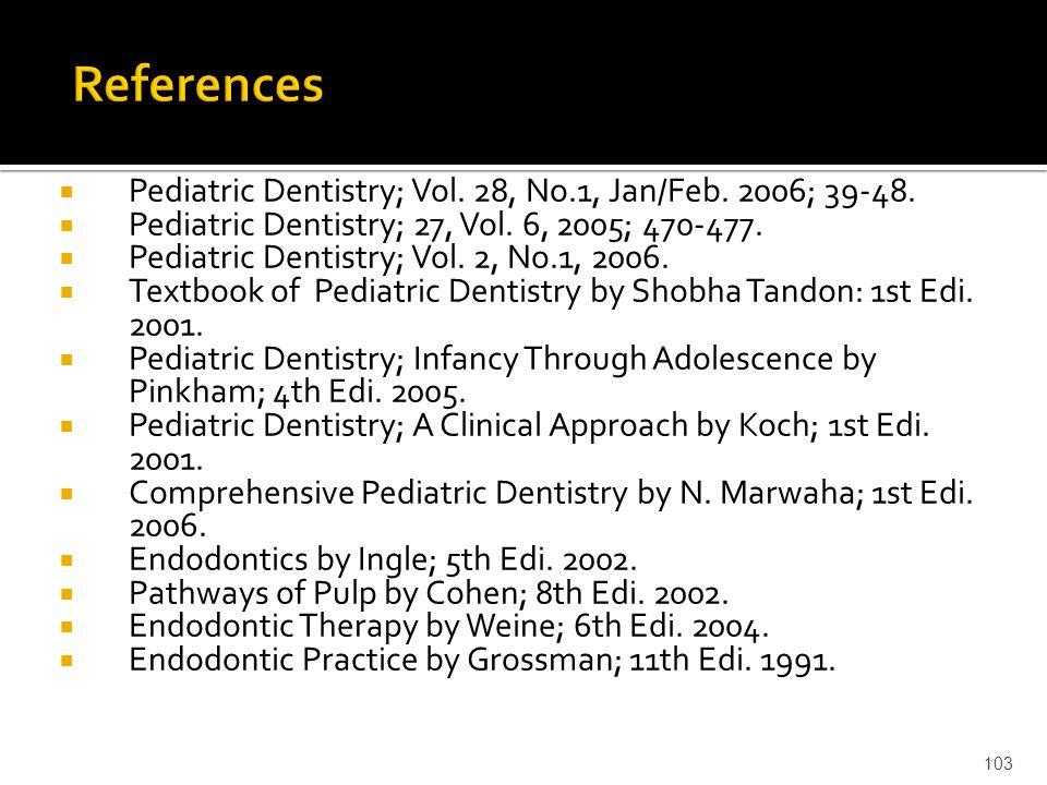  Pediatric Dentistry; Vol. 28, No.1, Jan/Feb. 2006; 39-48.  Pediatric Dentistry; 27, Vol. 6, 2005; 470-477.  Pediatric Dentistry; Vol. 2, No.1, 200