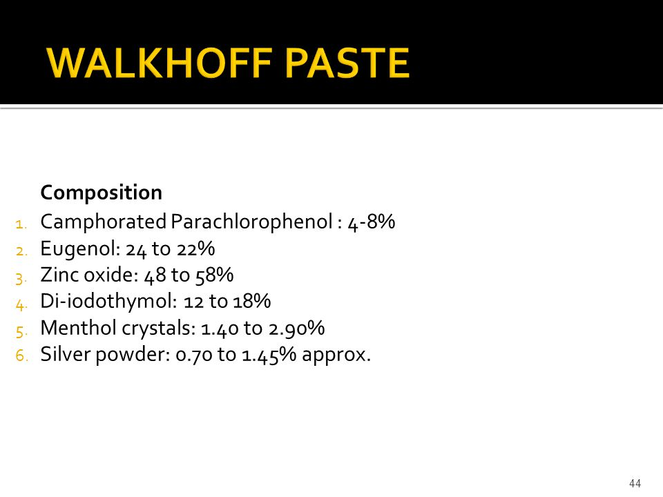 Composition 1. Camphorated Parachlorophenol : 4-8% 2. Eugenol: 24 to 22% 3. Zinc oxide: 48 to 58% 4. Di-iodothymol: 12 to 18% 5. Menthol crystals: 1.4