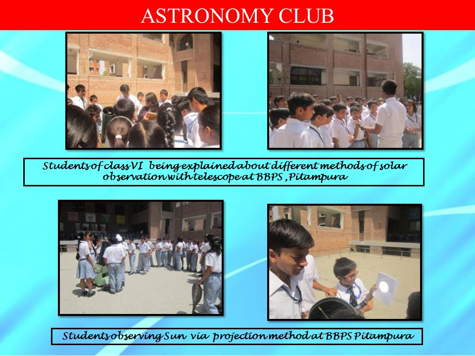 Students of class VI being explained about different methods of solar observation with telescope at BBPS,Pitampura Students observing Sun via projecti