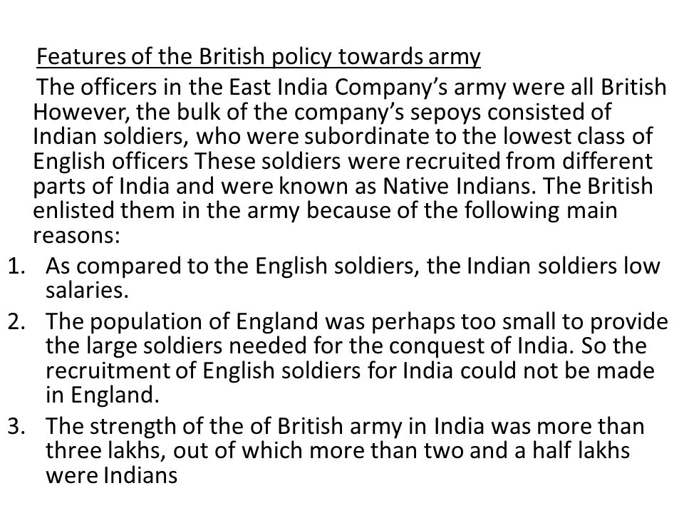 Discontent in the army before the Revolt of 1857.